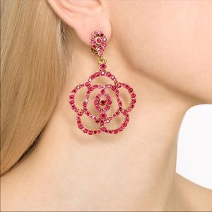 Clip on red camelia earrings